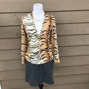 Zara sexy silky tiger print top!